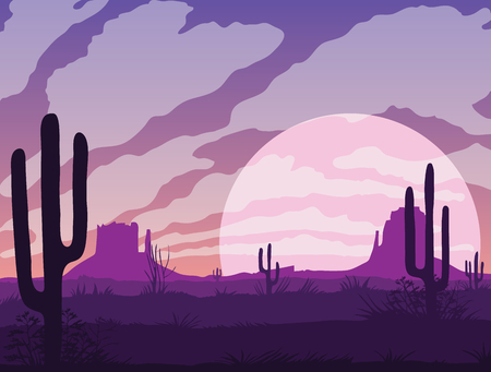 A high quality background of landscape with desert and cactus. Sunset on a background of a mountain landscape. Flat style. Illustration