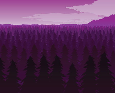 A high quality background of landscape with deep fir forest. Flat style. Иллюстрация