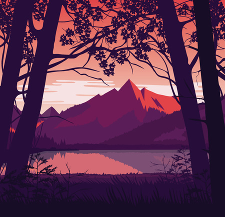 A high quality background of landscape with river and mountains. Sunrise on a background of a mountain landscape. Flat style. Illustration