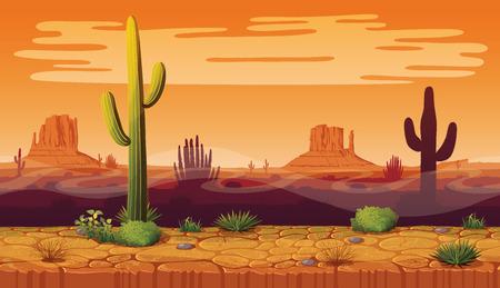 Eine hohe Qualität horizontale nahtlose backgroundof Landschaft mit Wüste und Kaktus. Sonnenuntergang auf dem Hintergrund einer Berglandschaft. Vector Spiel-Grafik. Vektorgrafik