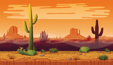 A high quality horizontal seamless backgroundof landscape with desert and cactus. Sunset on a background of a mountain landscape. Vector game graphic. Vettoriali