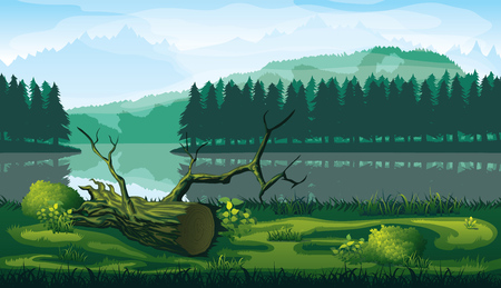 A high quality horizontal seamless background of landscape with river, forest and mountains.  イラスト・ベクター素材