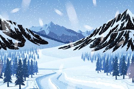 冬景色の山々、森林、雪と高品質に水平のシームレスな背景。