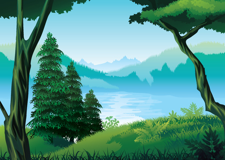 A high quality background of landscape with river, forest and mountains. Illustration