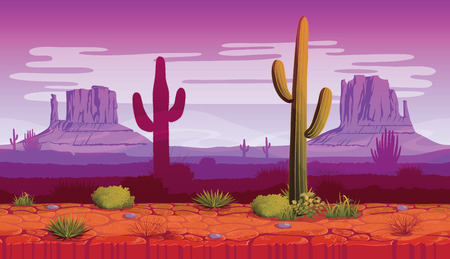 A high quality horizontal seamless background of landscape with desert and cactus. Evening on a background of a mountain landscape. Vector game graphic.