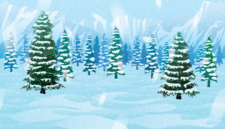 A high quality horizontal seamless background with winter landscape - mountains, forest and snow.