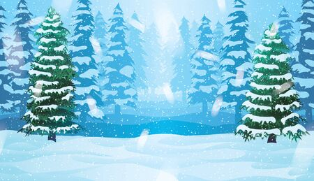 A high quality horizontal seamless background with winter landscape - forest and snow.  イラスト・ベクター素材