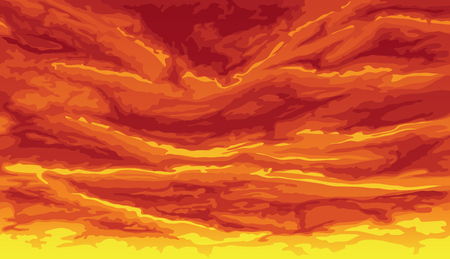 Horizontal seamless background of ominous sky, red clouds.