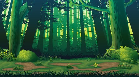 A high quality horizontal seamless background with forest 일러스트
