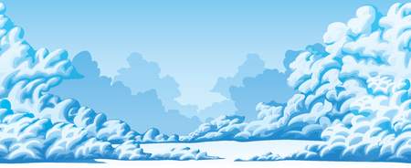 Horizontal seamless background of fluffy cumulus clouds
