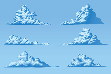 Set of six vector fluffy cumulus clouds Illustration