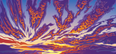 Horizontally oriented hand drawn background with clouds. Sunset