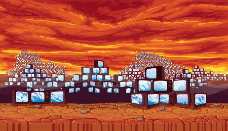 A high quality horizontal seamless background - wasteland with ominous sky, scrapyard of pyramids retro TV