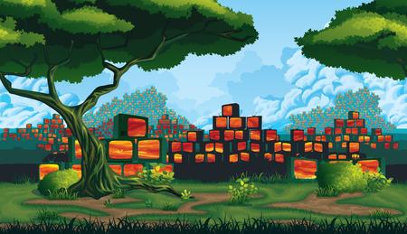 A high quality horizontal seamless background - green land, scrapyard of pyramids retro TV 일러스트
