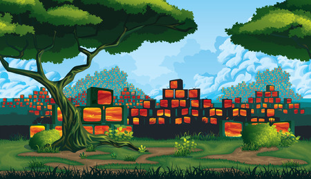A high quality horizontal seamless background - green land, scrapyard of pyramids retro TV Ilustrace