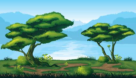 A high quality horizontal seamless background of landscape with deep fir forest. Reklamní fotografie - 74732312