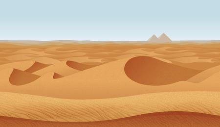 A high quality horizontal seamless background with desert. Pyramids on the horizon.
