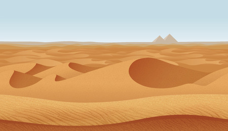 A high quality horizontal seamless background with desert. Pyramids on the horizon.