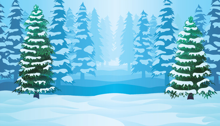 A high quality horizontal seamless background with winter landscape - forest and snow. 일러스트