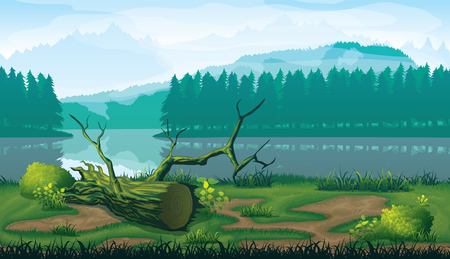 A high quality horizontal seamless background of landscape with river, forest and mountains. 일러스트