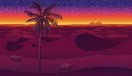 A high quality horizontal seamless background with desert, palms and dry grass. Pyramids on sunset background.