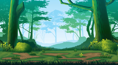 A high quality horizontal seamless background with forest.