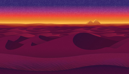 A high quality horizontal seamless background with desert. Pyramids on sunset background.