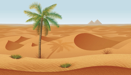 A high quality horizontal seamless background with desert, palms and dry grass. Pyramids on the horizon. Illustration