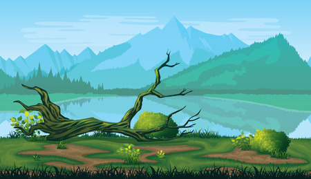 A high quality horizontal seamless background of landscape with river, forest and mountains. Иллюстрация