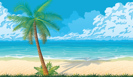A high quality horizontal seamless background with coast, ocean, palms and clouds. Sandy beach. Seamless background for mobile games and applications