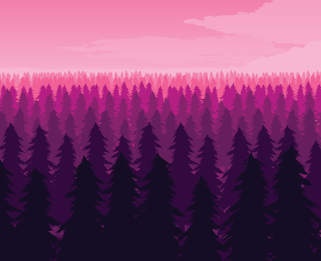 A high quality background of landscape with deep fir forest. Flat style.  イラスト・ベクター素材