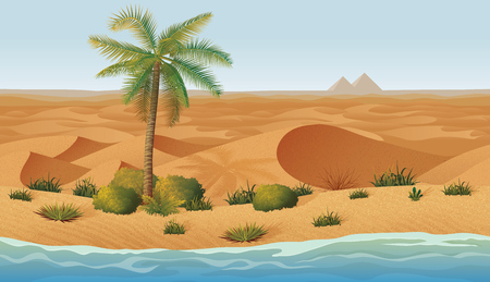 A high quality horizontal seamless background with desert, palms and dry grass. Pyramids on the horizon Illustration