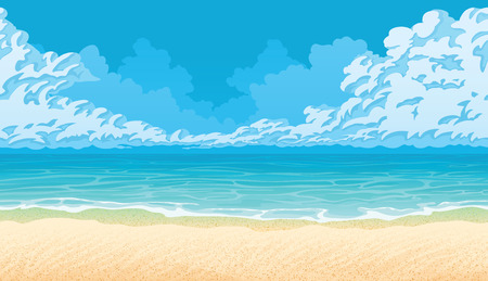 A high quality horizontal seamless background with coast, ocean and clouds. Sandy beach. Illustration