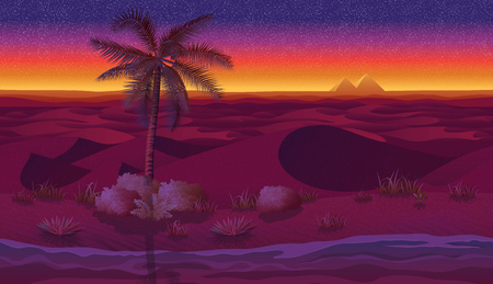 A high quality horizontal seamless background with desert, palms and dry grass. Pyramids on sunset background