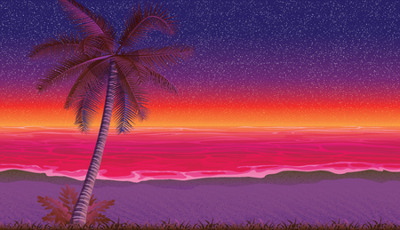 A high quality horizontal seamless background with coast, ocean, palm. Sandy beach on sunset. Seamless background for mobile games and applications 일러스트