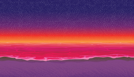 A high quality horizontal seamless background with coast, ocean. Sandy beach on sunset. Seamless background for mobile games and applications