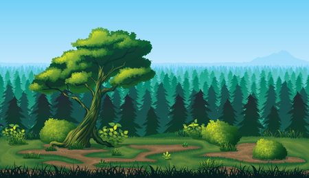 A high quality horizontal seamless pattern of landscape with deep fir forest.