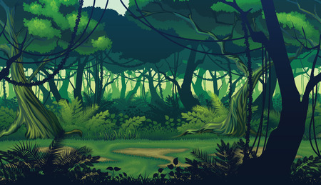 A high quality horizontal seamless background of landscape with deep jungle forest.