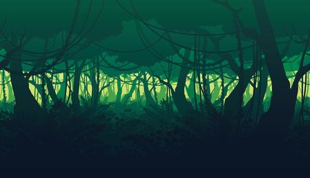 深いジャングルの風景の高品質に水平のシームレスな背景。 写真素材 - 81675681