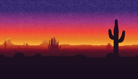 Een horizontale horizontale naadloze achtergrond van uitstekende kwaliteit van landschap met woestijn en cactus. Zonsondergang op een achtergrond van een berglandschap.