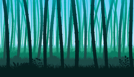A high quality horizontal seamless background of landscape with stems of bamboo. Silhouette of deep forest.