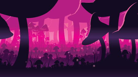 A high quality horizontal seamless background of landscape with deep mushroom forest. Alternative ecosystem. Planet of giant mushrooms. Endless background for side scroller game. 일러스트