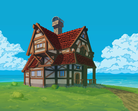 A high quality background - vector rural house. Old European mansion on hill. Summer background with building use for infographics and side-scroller games. Ilustração