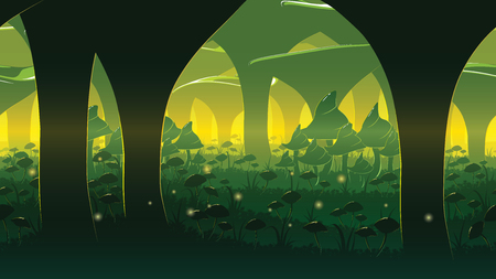 A high quality horizontal seamless background of landscape with deep mushroom forest. Alternative ecosystem. Planet of giant mushrooms. Endless background for side scroller game.  イラスト・ベクター素材