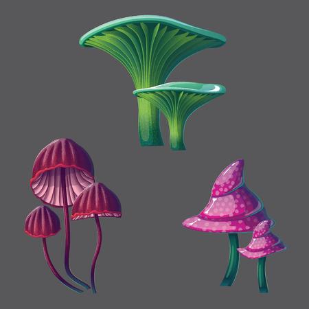 A high quality fantasy mushrooms set. Bright, cartoon, fantastic natural objects. Ilustração