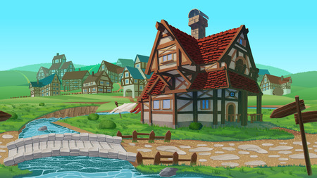 A high quality horizontal seamless background - village. Old European village. Summer background with buildings use for infographics and side-scroller games. 일러스트