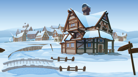 A high quality horizontal seamless background - vector village. Old European village. Winter background with buildings use for infographics and side-scroller games.  イラスト・ベクター素材