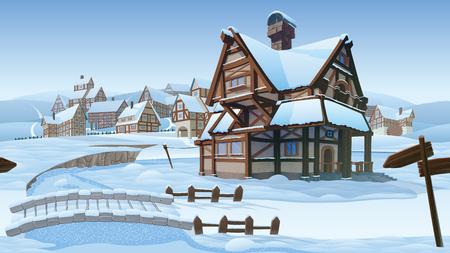 高品質の水平シームレスな背景ベクトル村。旧ヨーロッパの村。建物と冬の背景は、インフォグラフィックとサイドスクロールゲームのために使用します。 写真素材 - 89504787