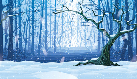 A high quality horizontal seamless background of cold, snowy landscape with deep winter forest.