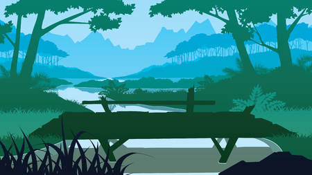 A high quality background of landscape with the wooden bridge near the lake, forest and mountains.  Flat style. Ilustrace